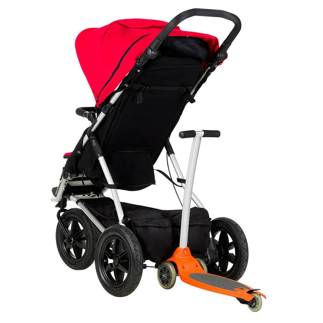 Mountain Buggy +one stroller in berry red colour with freerider scooter attached in rear_berry