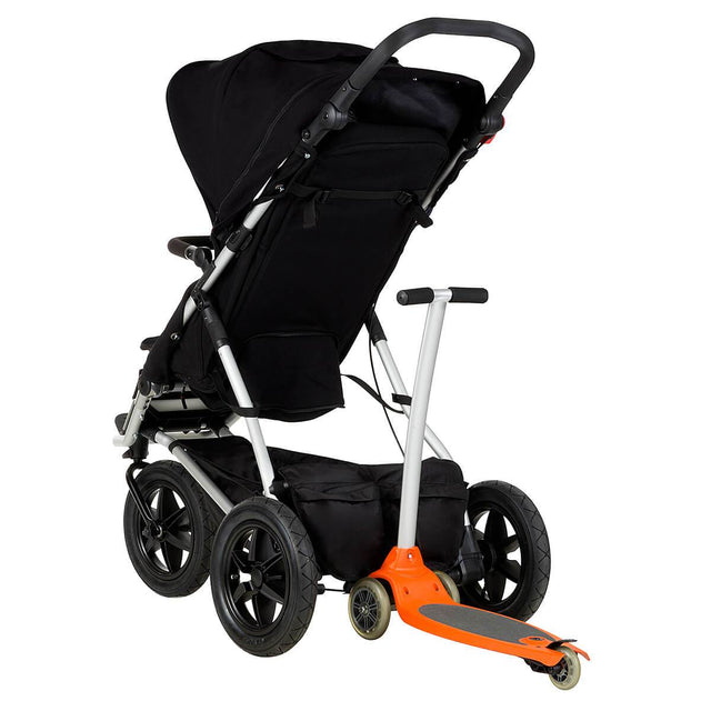 Mountain Buggy +one stroller in black colour with freerider scooter attached in rear_black