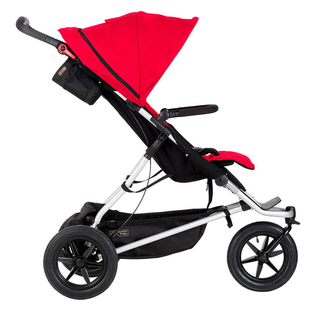 Mountain Buggy +one stroller in berry red colour side view_berry