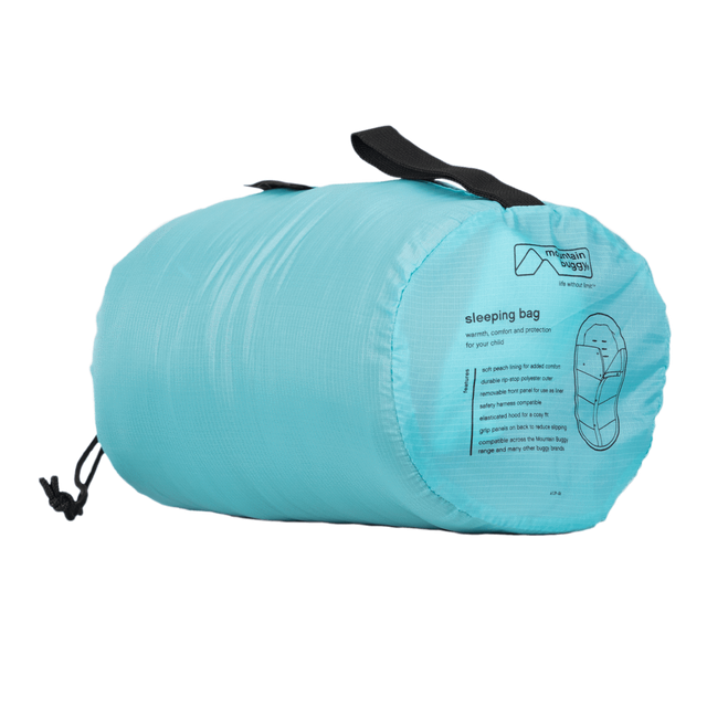 Mountain Buggy durable soft peach lined sleeping bag fully packed in colour ocean_ocean
