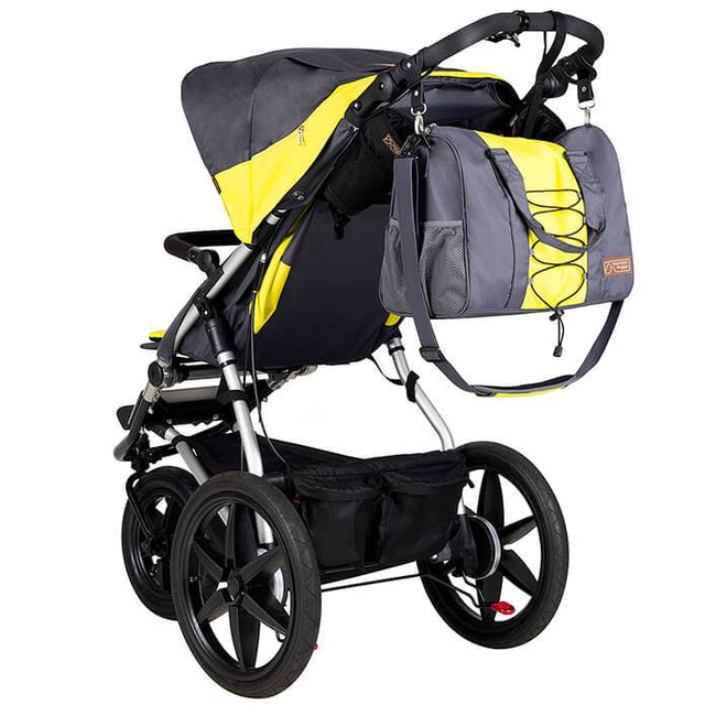 Mountain Buggy terrain stroller in yellow and black solus colour with matching yellow and black solus colour satchel_solus