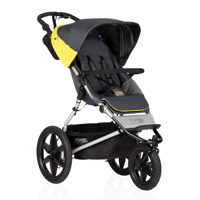 Mountain Buggy terrain stroller in yellow and black solus colour has a reversible black seat liner_solus