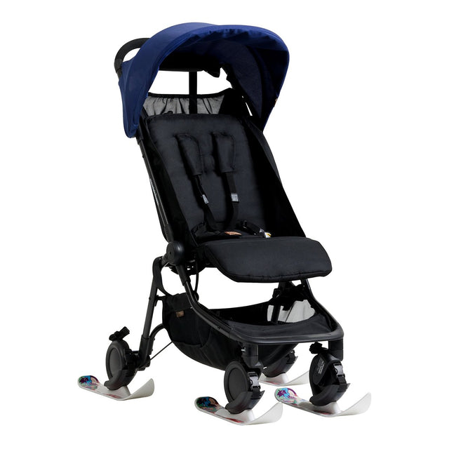 Mountain Buggy winter ski fitted on all 4 wheels of the nano buggy_white
