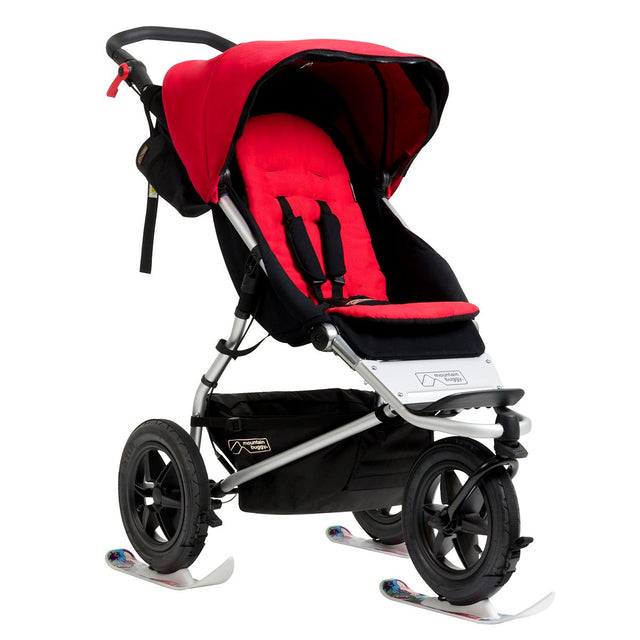 Mountain Buggy winter ski fitted on all 3 wheels of the urban jungle buggy_white