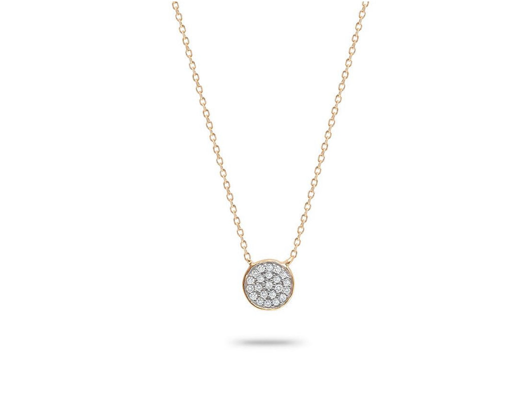 Solid Pavé Disc Necklace