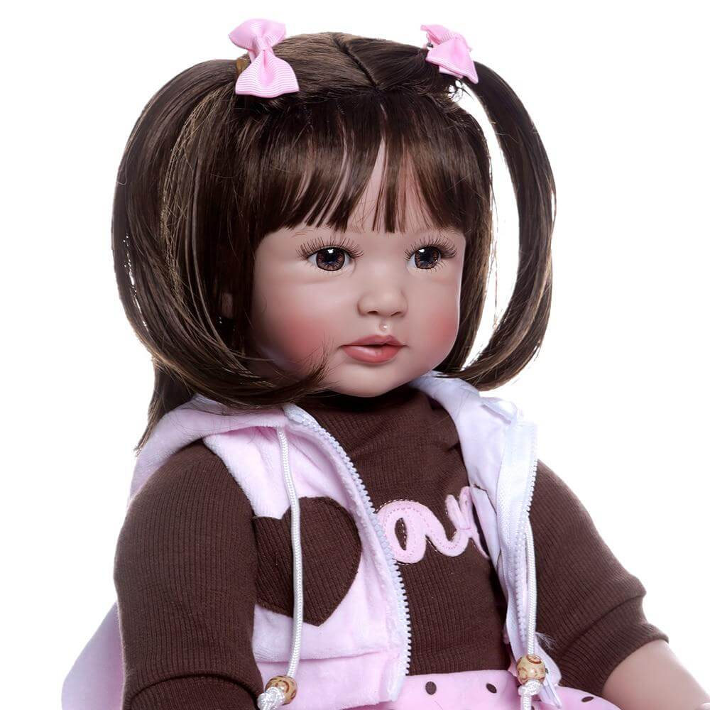 24'' reborn toddler baby girl doll with short brown hair doll 6-9M real baby size big doll  toy