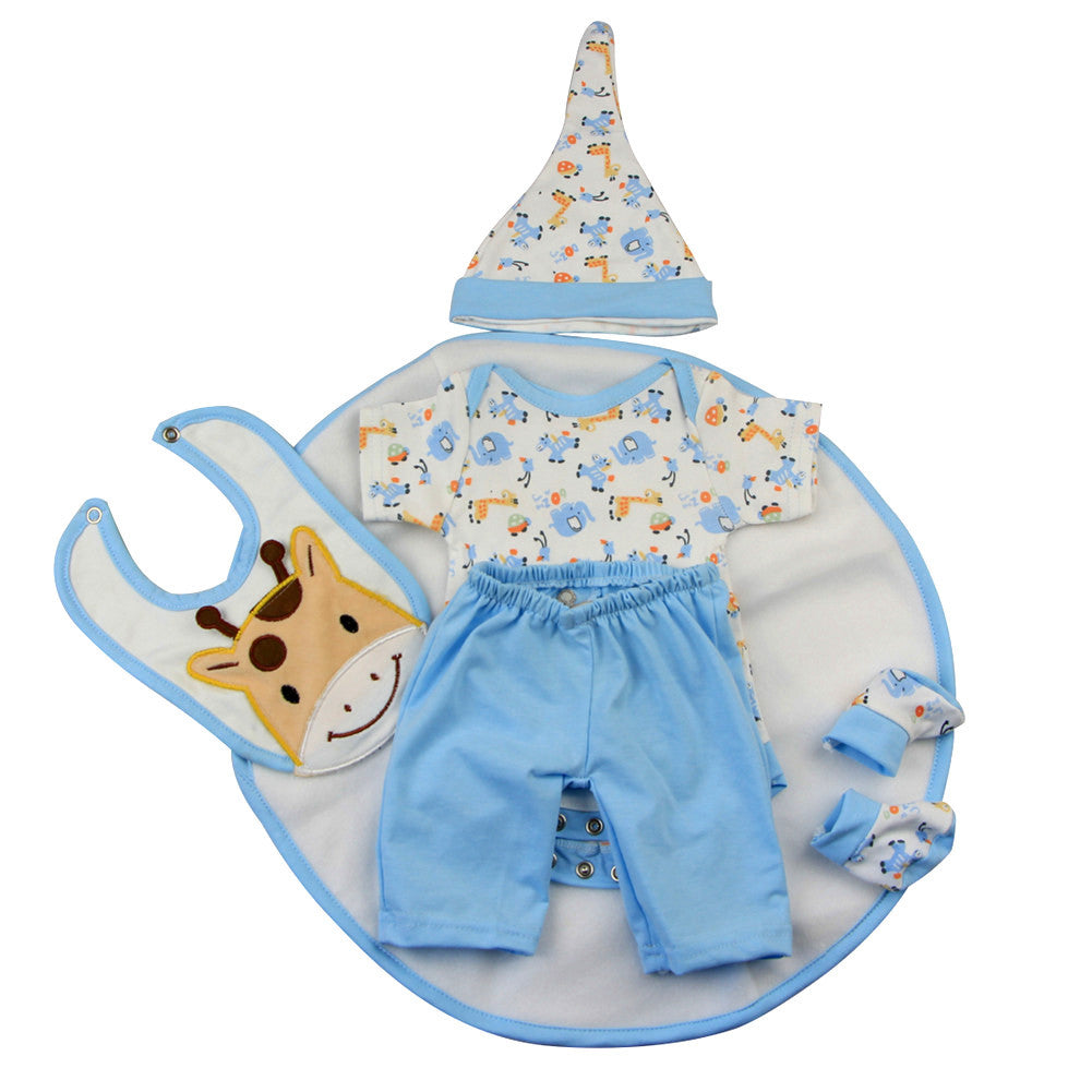 Pure cotton blue puppy 5-piece set of 17 inch reborn doll baby costume