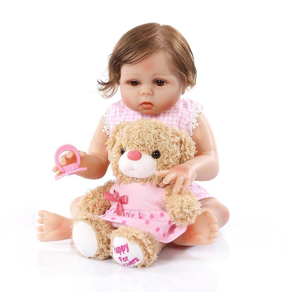 20'' premie bebe  in pink dress with bear toy