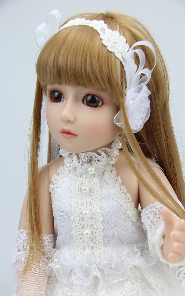 18''Original brand white princess skirt SD doll joint doll girl play house simulation toy gift