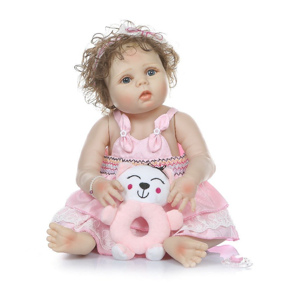 22''full body slicone reborn baby doll hand-rooted curly hair Anatomically Correct