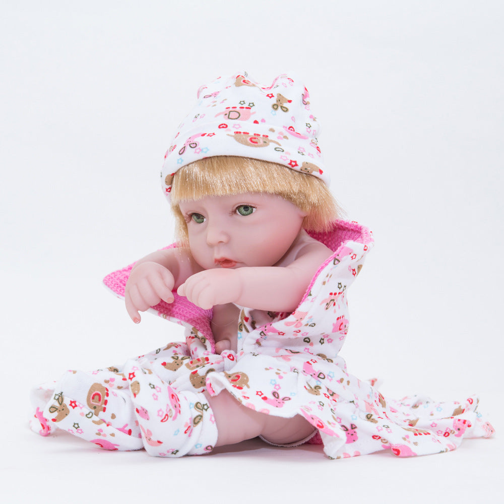 "10"" Full Vinyl Silicone Baby  Dolls Blond"