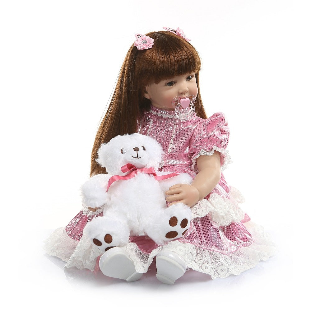 24'' Silicone Vinyl Reborn Baby Doll Toy For Girl