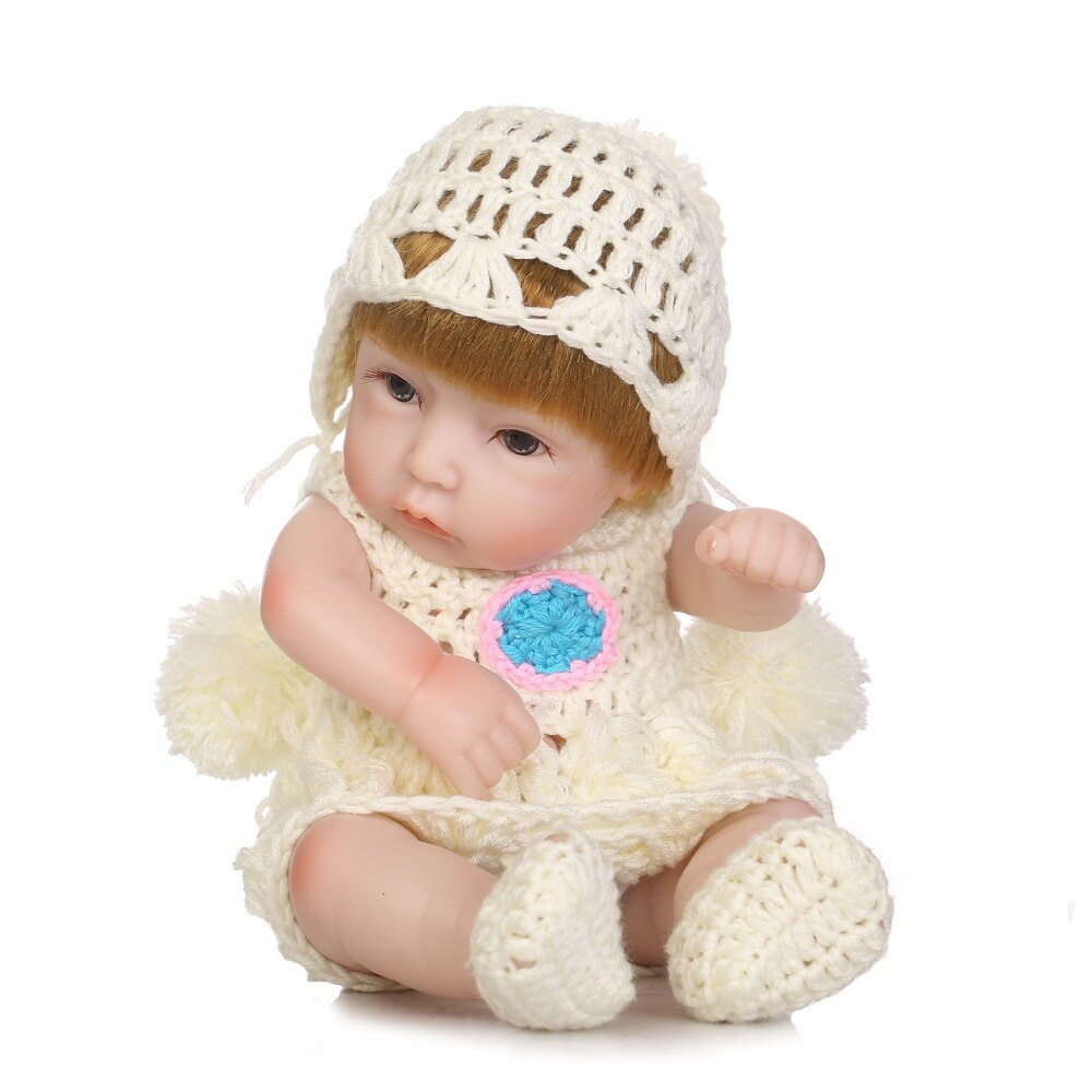 10'' Mini Full Silicone baby Reborn Baby Girl Dolls Soft Body Doll