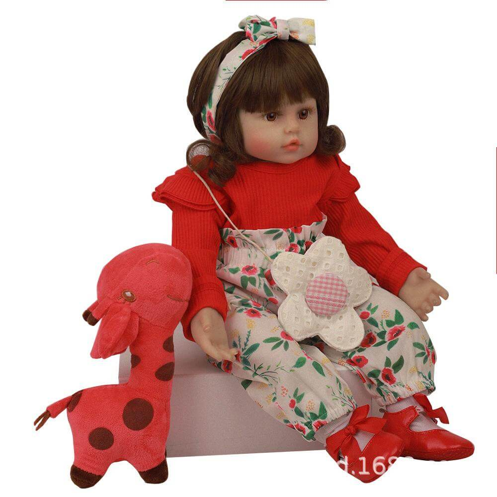 24''Zenborn red dress baby Imitation doll costume model silicone reborn doll