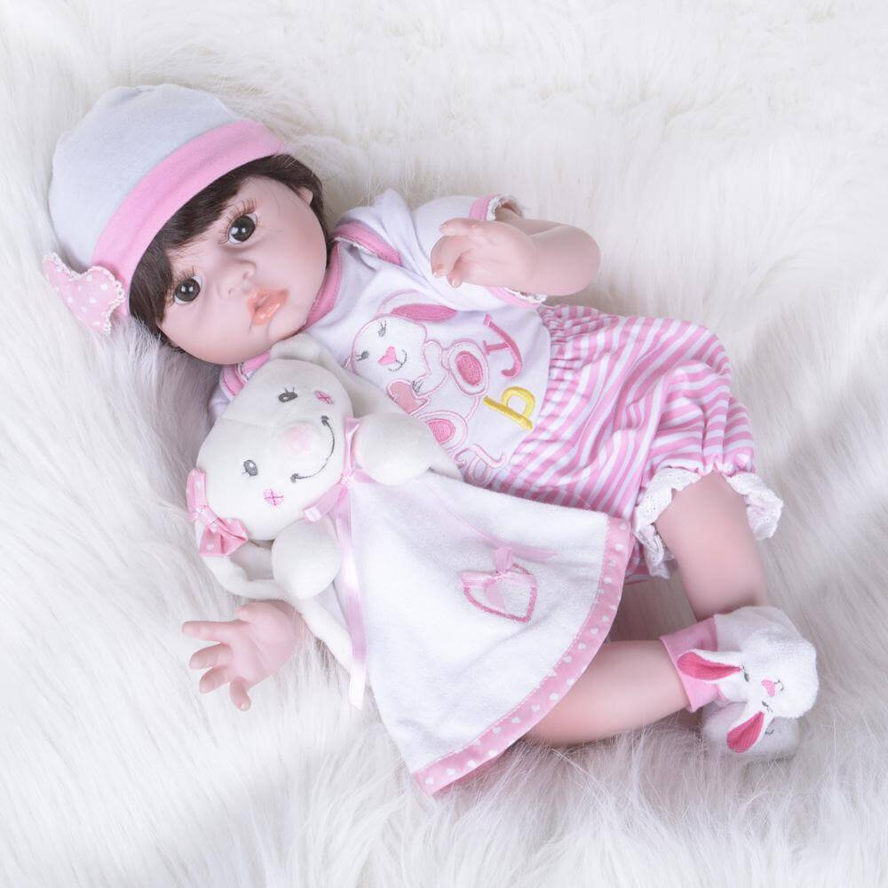 22''Beautiful baby girl with rabbit