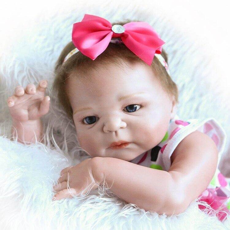22'' silicone vinyl real soft touch reborn doll wholesale lifelike reborn baby blue eyes doll children Christmas Gift
