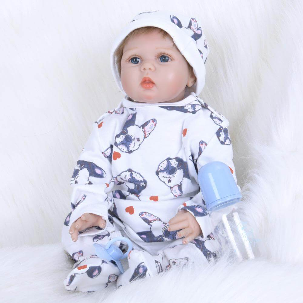 22''Huggable Lifelike Baby Boy Doll with Pet Clothes