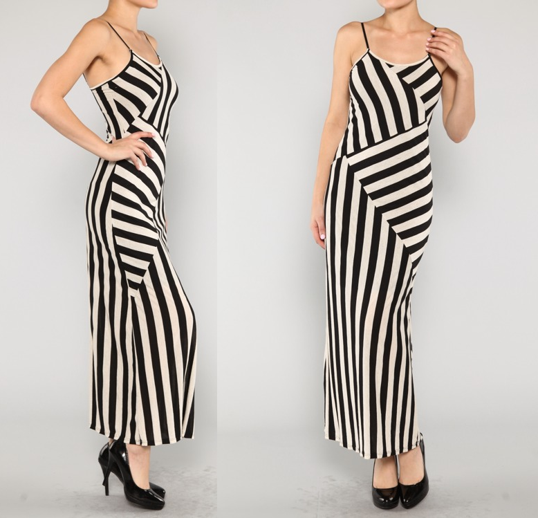 Jersey Black Beige Sleeveles Maxi Dress