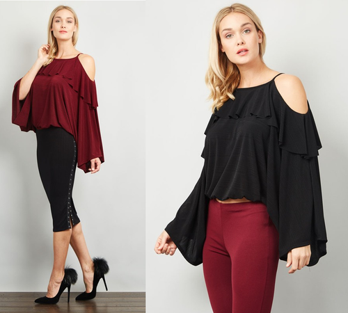 Sexy Cold Shoulder Ruffle Top Blouse
