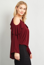 Open Cold Shoulder ruffle Top Blouse
