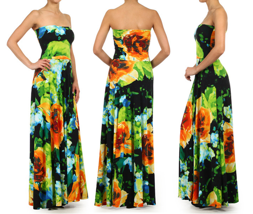 Gorgeous Strapless Floral Maxi Dresss
