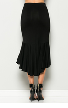 Black Ruffle Mermaid Pencil Skirt
