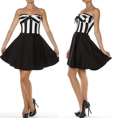 Sexy Strapless Striped Dress Vintage Pinup