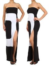 SEXY STRAPLESS TUBE TOP MAXI DRESS Color Block BodyCon Long Slit Sexy