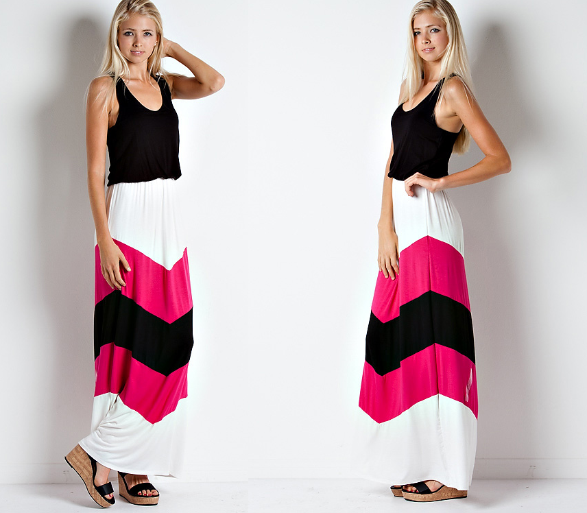 Sexy Chevron Bohemian Maxi Dress