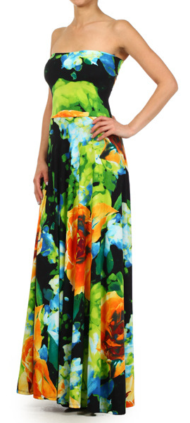 A Must Have Strapless Floral Maxi Dresss
