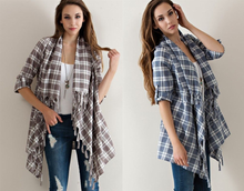 Cardigan Fringe Tassels Plaid Jacket Cotton Top