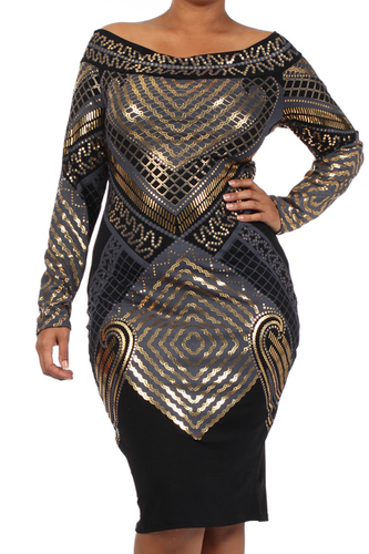 Plus Size Metallic Off the Shoulder Bodycon Dress