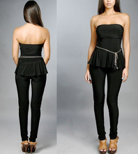 Peplum Strapless Jumpsuit Black