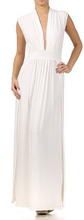 Sexy Long Plunge Cleavage Maxi Dress Two High Split Skirt Sleeveless S M L NEW WOMEN