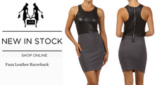 Sexy Faux Leather Racer Back Dress