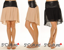 SEXY 5TH CULTURE HIGH LOW LEATHER WAISTBAND SHEER SKIRT Black or Beige Versatile S M L