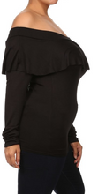 BLACK OFF THE SHOULDER TOP Long Sleeve Soft Sexy Ruffle Boho