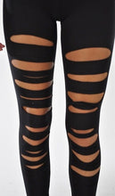 Plus Size Black Slashed Leggings