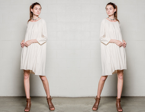 Cream Linen Flare Mini Dress