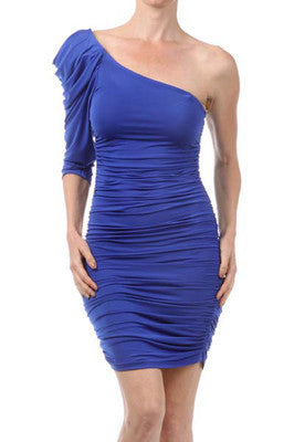 NEW WOMEN ONE SHOULDER PARTY DRESS Ruched Sexy BLACK or BLUE One Arm S M L
