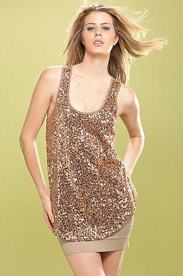 BEAUTIFUL SEQUIN BLACK OR TAN TANK TOP Soft Racer Back