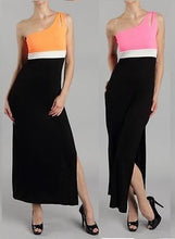 PINK/BLACK ONE SHOULDER COLOR BLOCK  Long Maxi Dress Slit NEON Pink Orange S M L