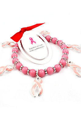 NEW WOMEN PINK BREAST CANCER RIBBON CHARM BRACELET Stretch Beads