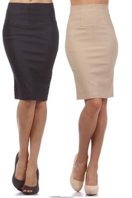NEW WOMEN HIGH WAIST STRAIGHT PENCIL SKIRT Back Slit Sexy Black or Beige S M L