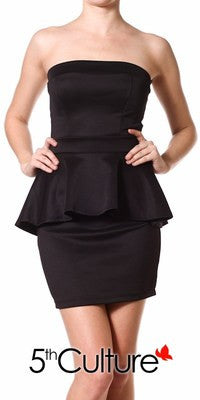 NEW WOMEN BLACK PEPLUM SKIRT DRESS Sleeveless Sheen Mini  Zipper Back S M L