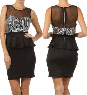 NEW WOMEN BLACK BODY CON PEPLUM DRESS Sequin Bodice Mesh Panels Cocktail S M L