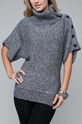 NEW WOMEN CHARCOAL COWL NECK SWEATER Short Sleeve Fitted Button Detail S M L XL