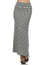 Sexy Strped Maxi Skirt Black White
