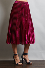 Metallic Pleaded Midi Skirt