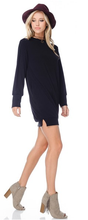 Black Long Sleeve Terry Sweater Dress